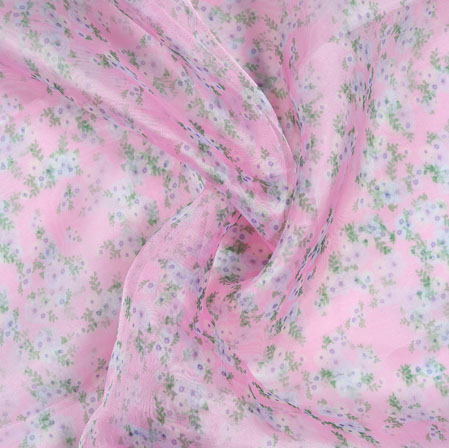 Pink White and Green Floral Organza Silk Fabric-22103