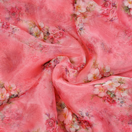 Pink White and Green Floral Organza Silk Fabric-22122