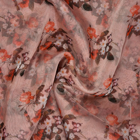 Pink White and Green Floral Organza Silk Fabric-22127
