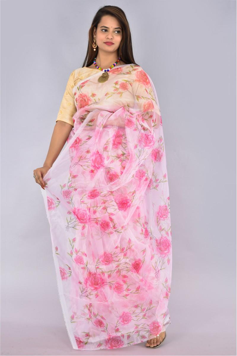 Pink White and Green Organza Digital Printed Saree-36196