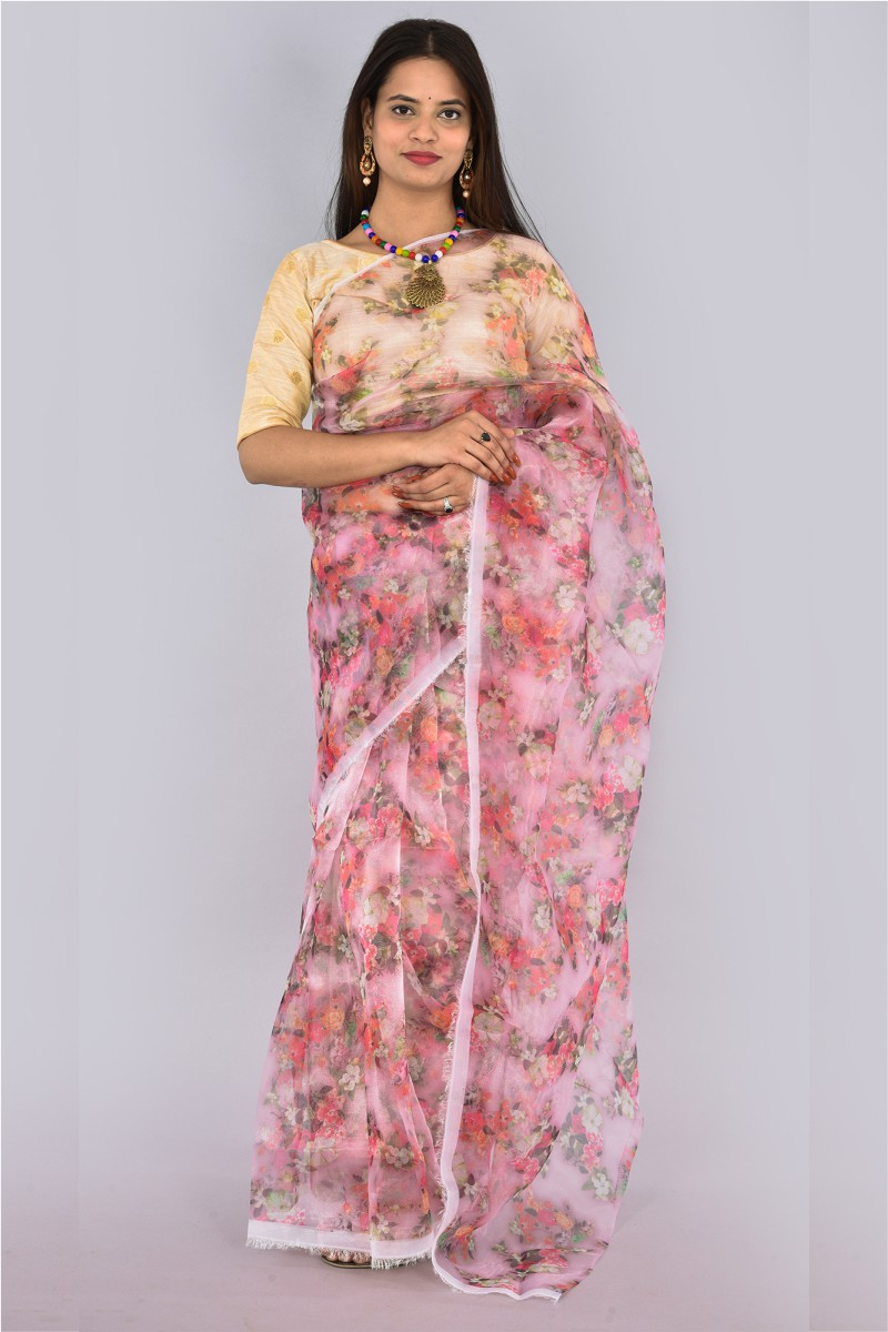 Pink White and Peach Organza Digital Printed Saree-36204