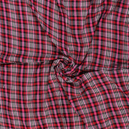 Pink-White and Red Checks Rayon Shirt Fabric-40271