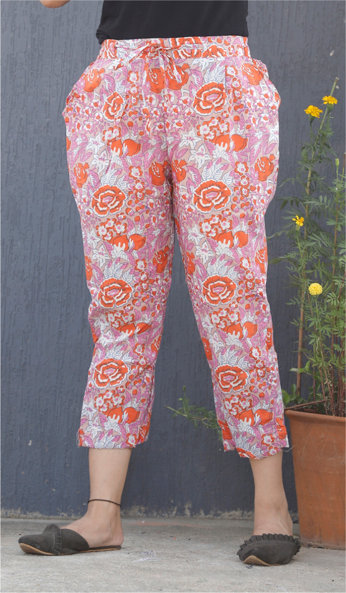 Pink White and Red Floral Block Print Cotton Pant-34118
