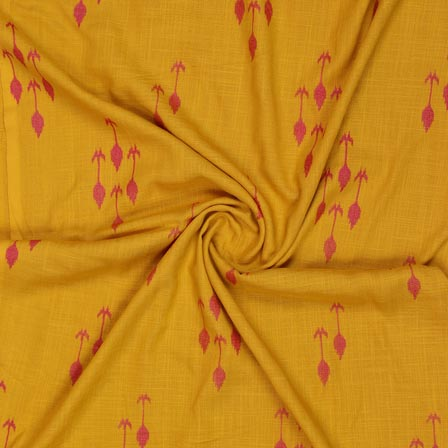 Pink Yellow Block Print Cotton Fabric-14926