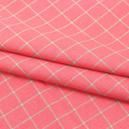 Cotton Shirt (2.25 Meter)-Pink Yellow Check Handloom-140613
