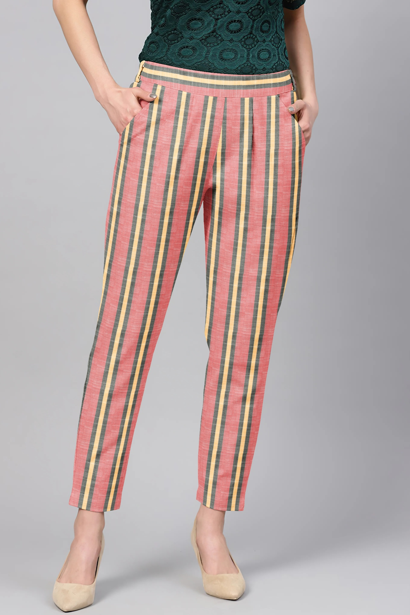 Pink Yellow Cotton Stripe Regular Fit Solid Trouser-36087