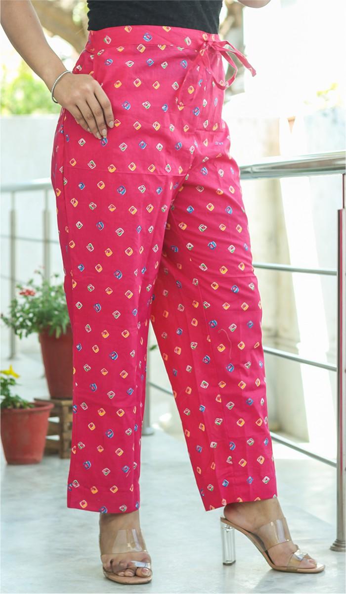 Pink Yellow Crepe Polka Women Pant-34705