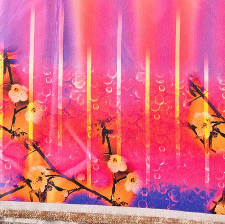 Pink Yellow Digital Print Panel Work Georgette Fabric-41168