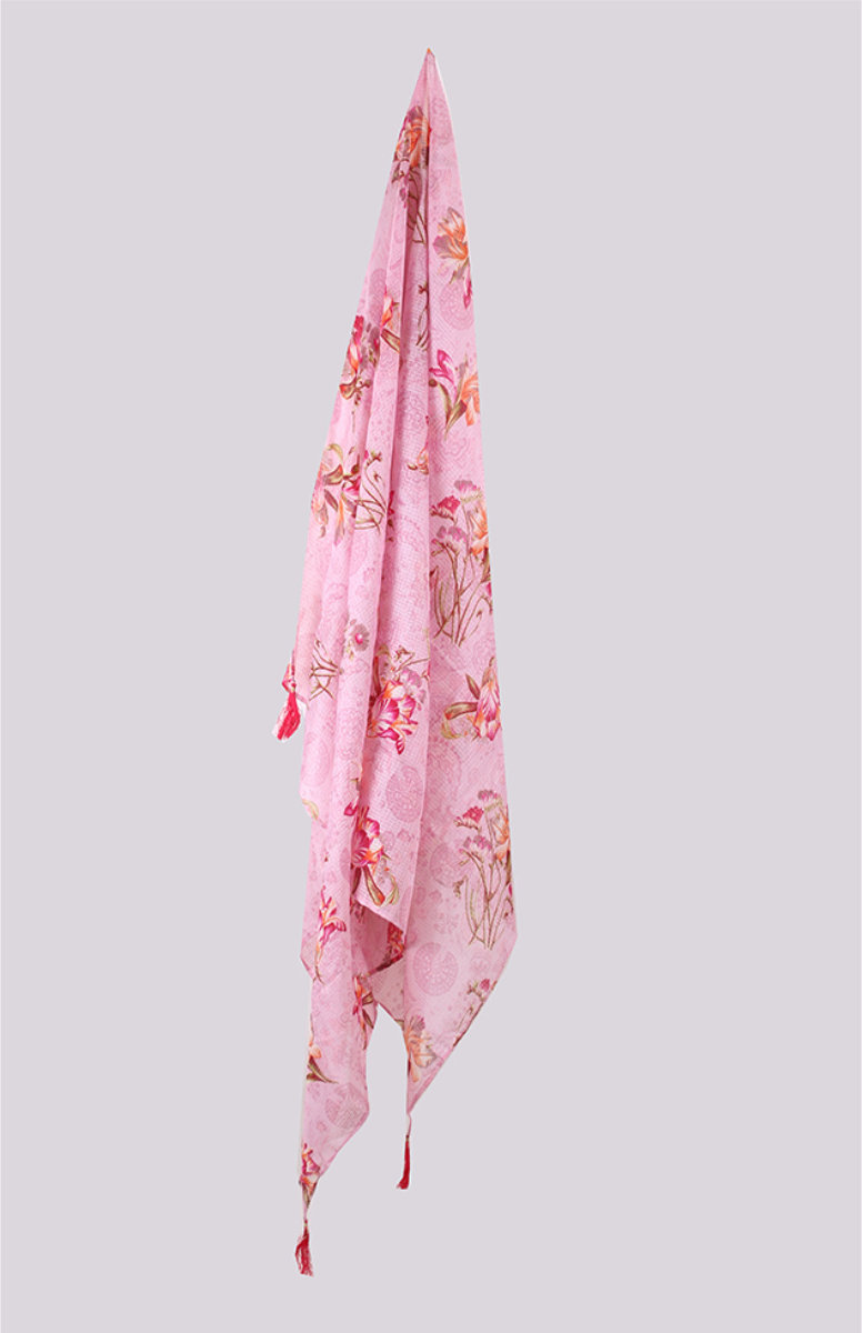 Pink Yellow Digital Printed Kota Doria Dupatta with Tassel-33435