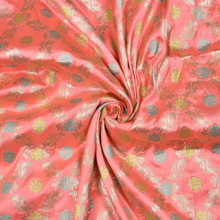 Pink Yellow Flower Brocade Banarasi Silk Fabric-12867