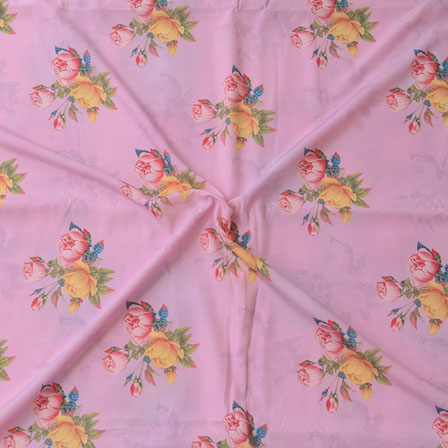 Pink Yellow Flower Crepe Silk Fabric-18236