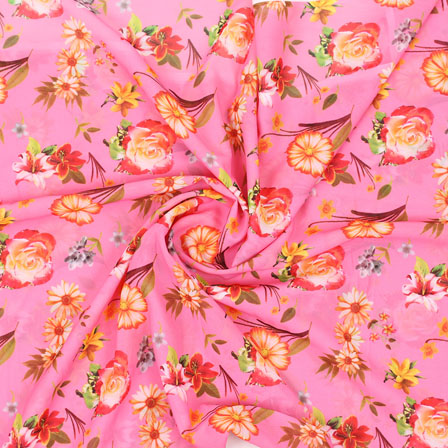 Pink Yellow Flower Georgette Silk Fabric-15254