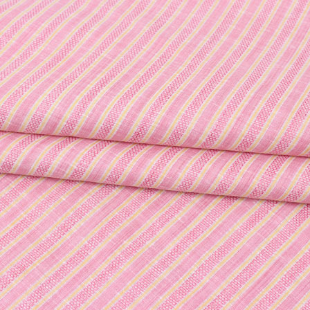Pink Yellow Striped Handloom Cotton Fabric-40780