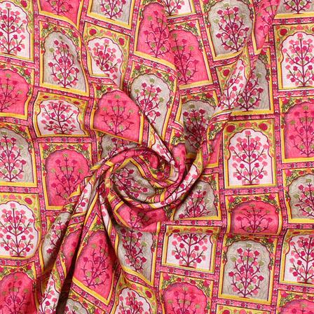 Pink Yellow Manipuri Silk Fabric-16413