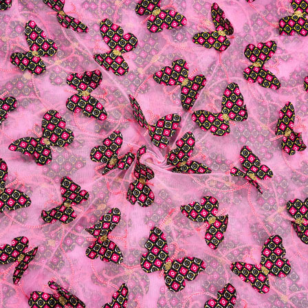 Pink Yellow Net Butterfly Embroidery Fabric-18781