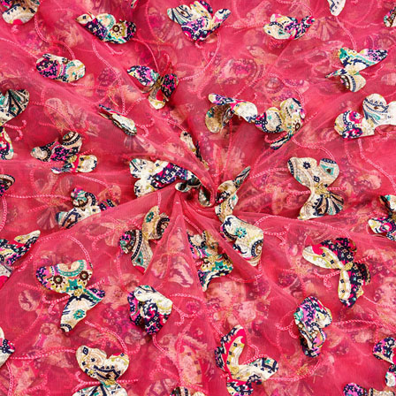 Pink Yellow Net Butterfly Embroidery Fabric-18802