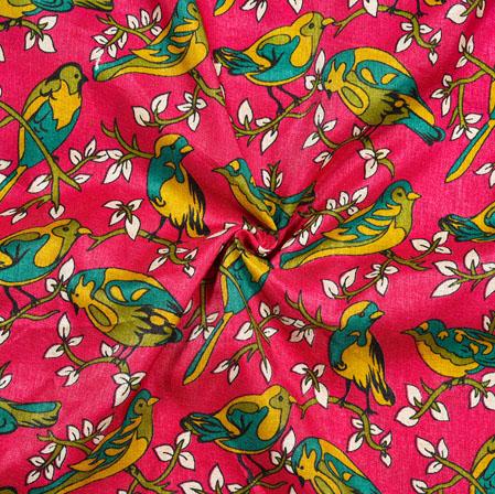 Pink Yellow Sparrow Print Manipuri-Silk Fabric-18057