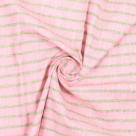 Pink Yellow and Black Stripe Handloom Khadi Cotton Fabric-40487