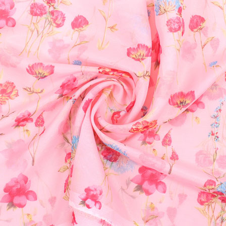 Pink Yellow and Blue Flower Organza Digital Silk Fabric-51487