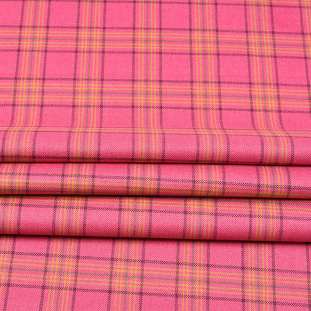 Pink Yellow and Brown Check Wool Fabric-90108
