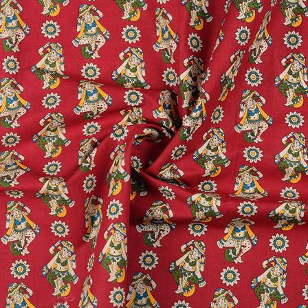 Pink-Yellow and Cream Cotton Kalamkari Fabric-10148