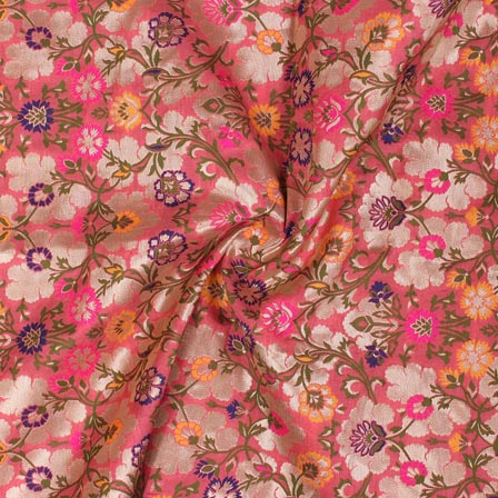 Pink Yellow and Golden Floral Banarasi Silk Fabric-9317
