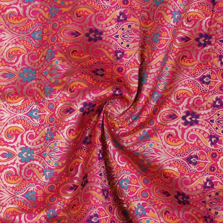 Pink Yellow and Golden Floral Banarasi Silk Fabric-9319