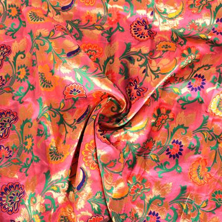 Pink Yellow and Golden Floral Banarasi Silk Fabric-9440