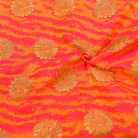 Pink-Yellow and Golden Floral Pattern Soft Brocade Silk Fabric-8119