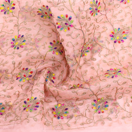 Pink-Yellow and Golden Flower Organza Embroidery Fabric-51443