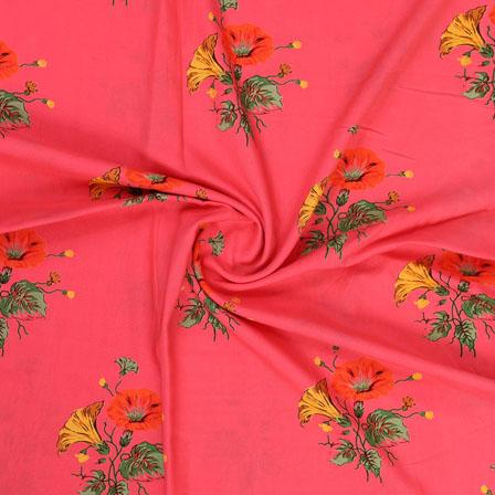 Pink Yellow and Green Block Print Rayon Fabric-14810