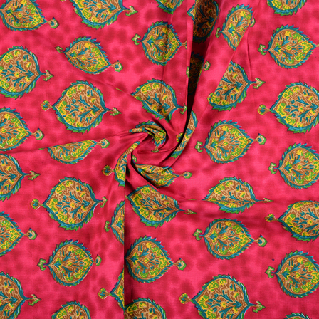 Pink-Yellow and Green Floral Design Block Print Fabric-14429
