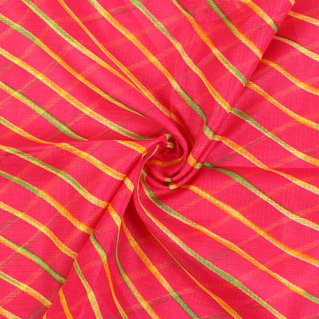 Pink-Yellow and Green Lehariya Design Kota Doria Fabric-25080