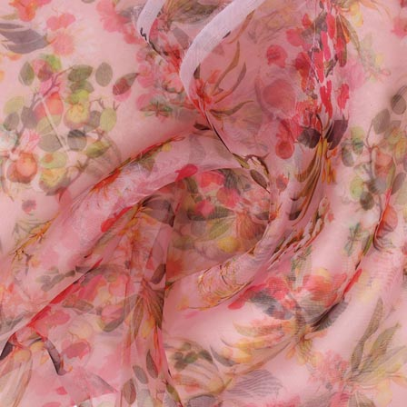 Pink Yellow and Red Digital Organza Silk Fabric-51673