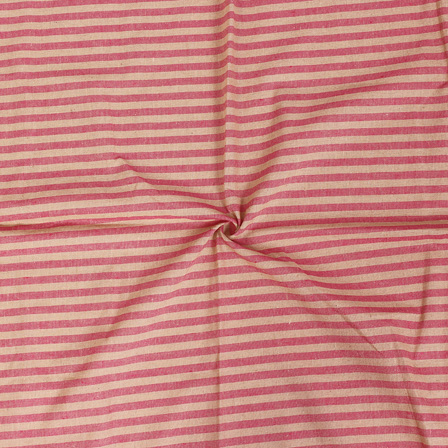 Pink and Beige Lining Handloom Cotton Stripe Fabric-40001