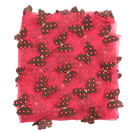 Pink and Black Butterfly Net Embroidery Fabric-60850