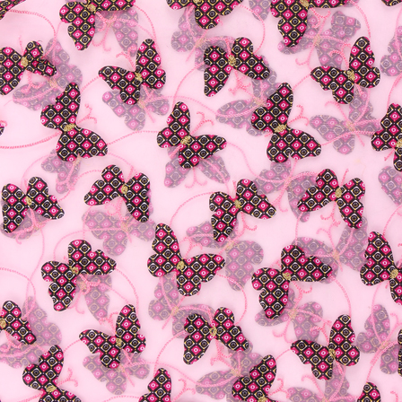 Pink and Black Butterfly Net Embroidery Fabric-60852