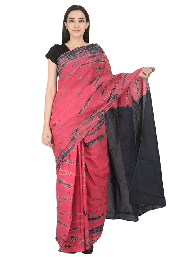 Pink and Black Cotton Tie Dye Print Saree-20119