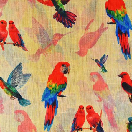 Pink and Blue Bird Digital Print On Beige Silk Fabric-24026