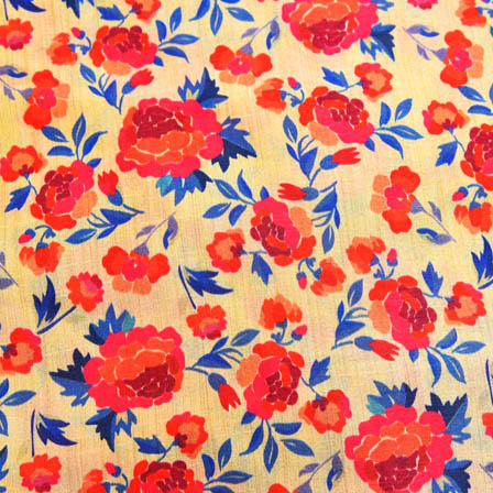Pink and Blue Flower Digital Print On Beige Silk Fabric-24008