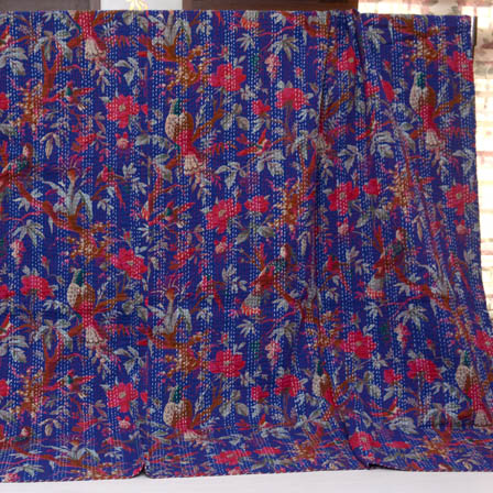 Pink and Blue Handmade Floral Pattern Kantha Quilt-4355