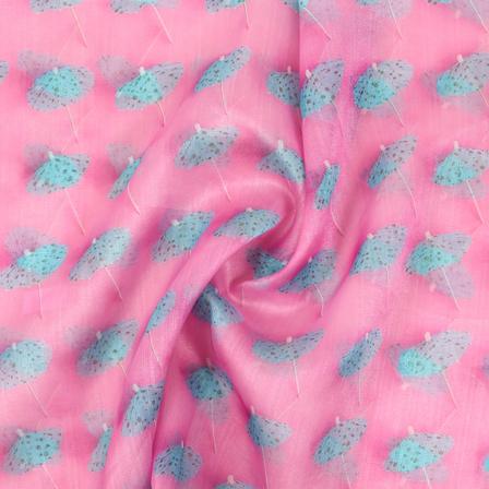 Pink and Blue Umbrella Organza Digital Print Fabric-51382