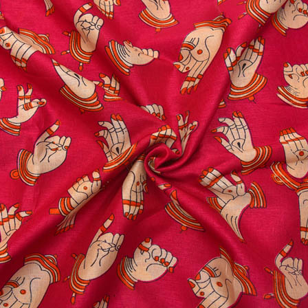 Pink and Cream Hand Mudra Design Kalamkari Manipuri Silk-16057