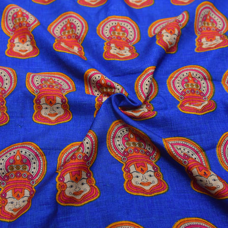 Pink and Cream Kuchipudi Face Design On Blue Kalamkari Manipuri Silk-16134
