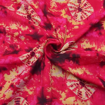 Pink and Cream Unique Design Crepe Fabric-18054