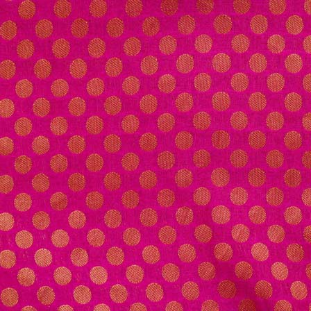 Pink and Golden Bold Dotted Brocade Silk Fabric-1081