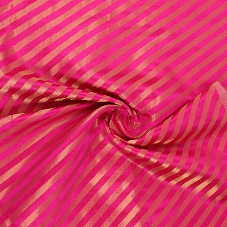 Pink and Golden Brocade Silk Fabric-8870