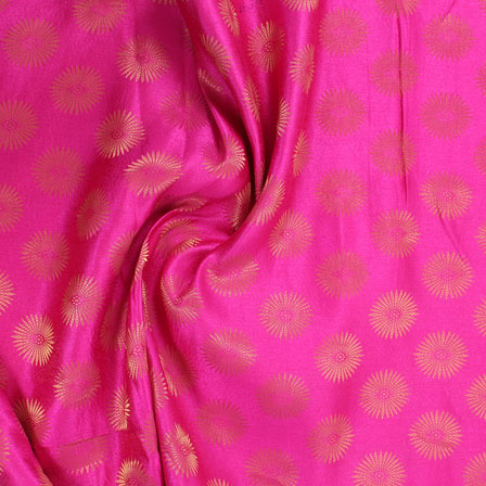 Pink and Golden Brocade Silk Fabric-8875