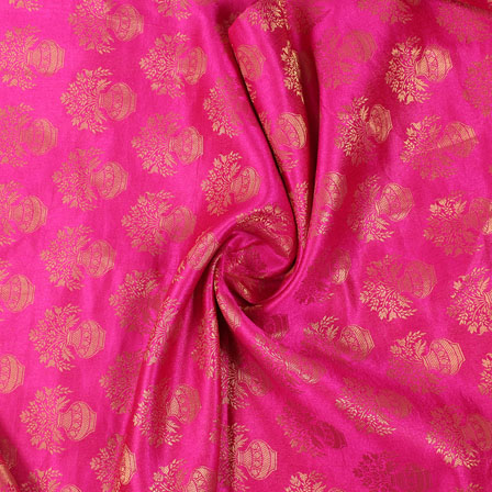 Pink and Golden Brocade Silk Fabric-8881