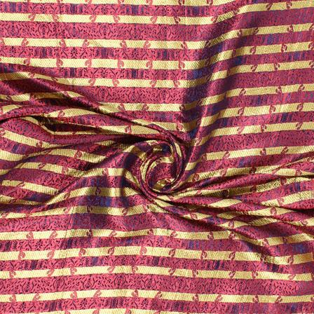 Pink and Golden Brocade Silk Fabric-8895